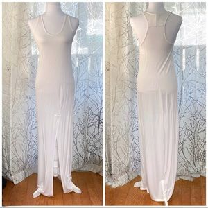 white sleeveless scoop neck front slit maxi dress